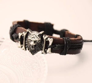True Vikings Silver / 1 Authentic Norse Wolf Leather Bracelet