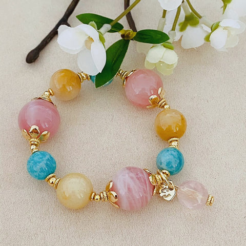 Roses of Golden Jade & Amazonite Bracelet