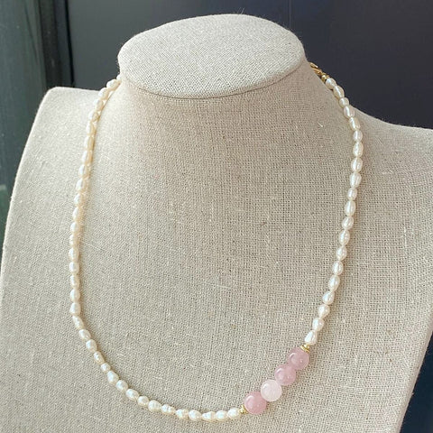 Madagascar Rose Quartz Pearl Necklace