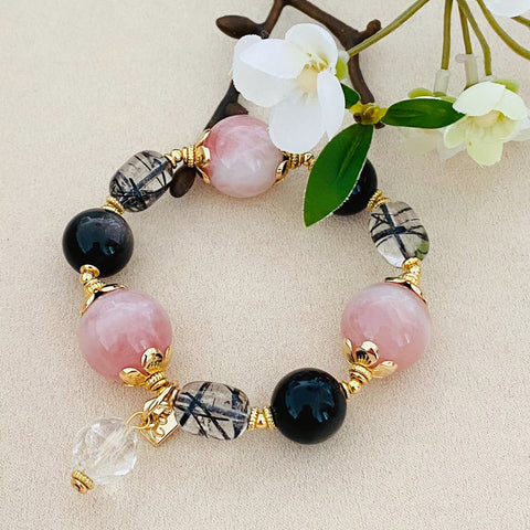 Roses of Rutilated Black Quartz & Silver Sheen Obsidian Bracelet