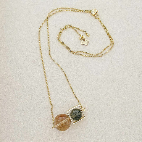 VIP Gold-Bronze Rutilated Quartz & Verdelite Necklace