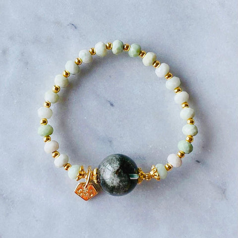 Jade & Green Phantom Quartz Crown Bracelet