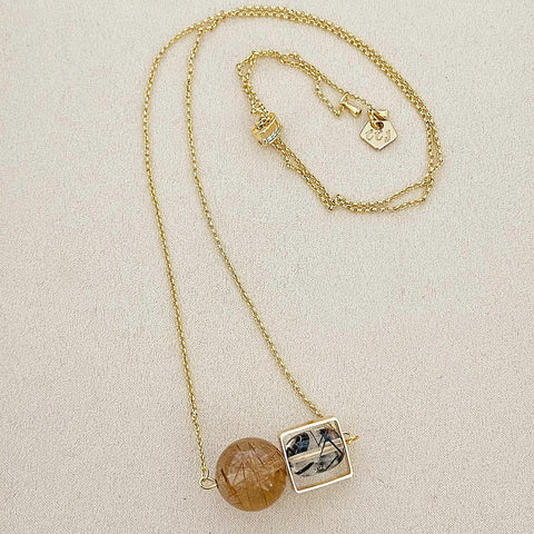 VIP Gold-Bronze Rutilated Quartz & Black Rutilated Quartz Square Necklace