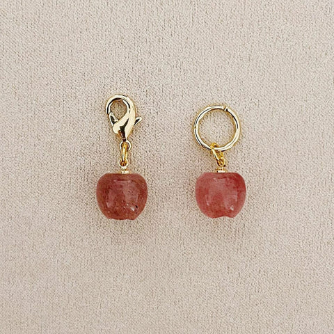 Strawberry Quartz Apple Charm