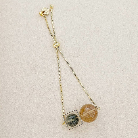 VIP Gold-Bronze Rutilated Quartz & Verdelite Square Bracelet
