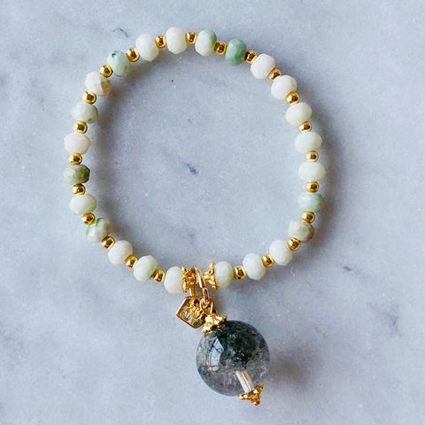 Jade & Green Phantom Quartz Charm Bracelet