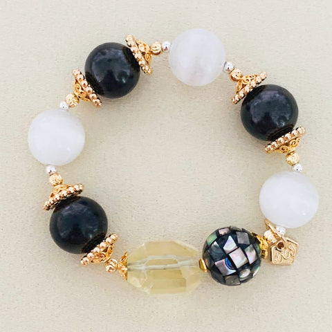 Shungite, Selenite & Lemon Quartz Bracelet