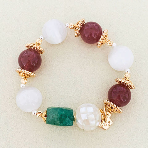 Selenite, Strawberry Quartz & Green Aventurine Bracelet