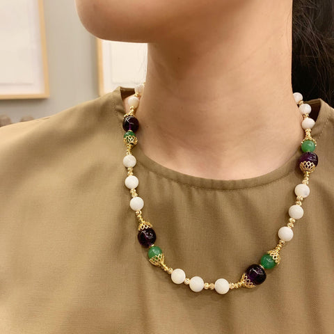 Amethyst, Chrysoprase & Mother of Pearl Necklace