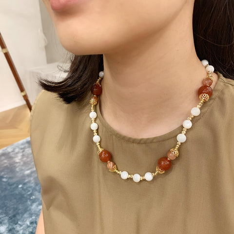 Red Agate, Sunstone & Mother of Pearl Necklace