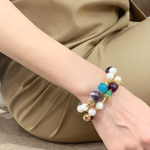 Chevron Amethyst, Amazonite & Mother Of Pearl Bracelet
