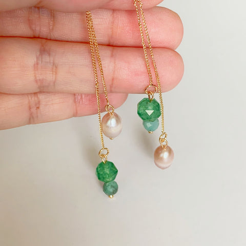 Emeralds & Pearls Earrings