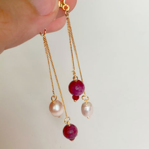 Rubies & Pearls Earrings
