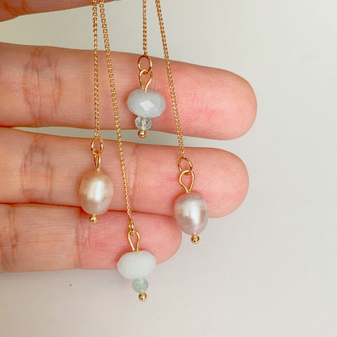 Aquamarine & Pearls Earrings