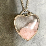 Pink Gems in Heart Necklace