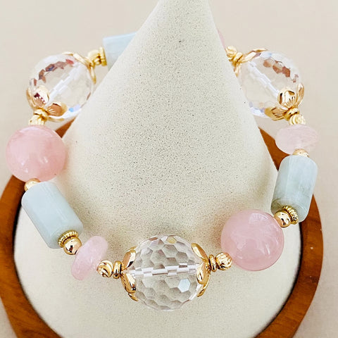 Clear Quartz, Jade & Madagascar Rose Quartz Bracelet