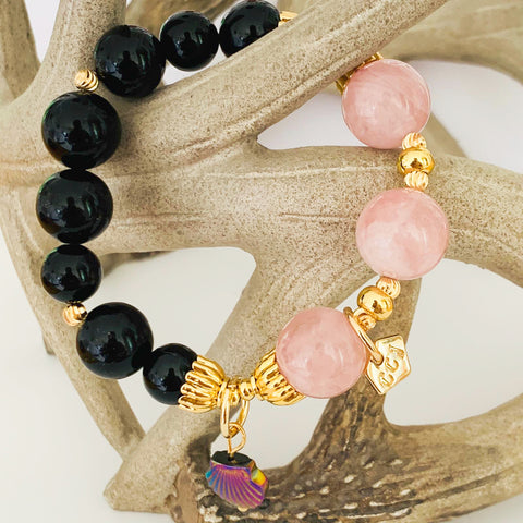 Madagascar Rose Quartz & Black Tourmaline Bracelet