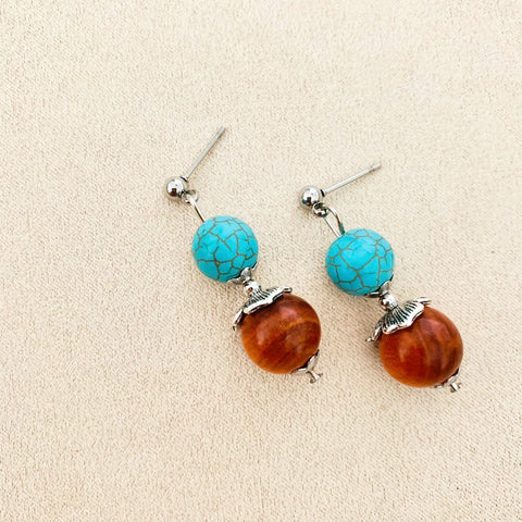 King Of Wood & Turquoise SHW Earrings