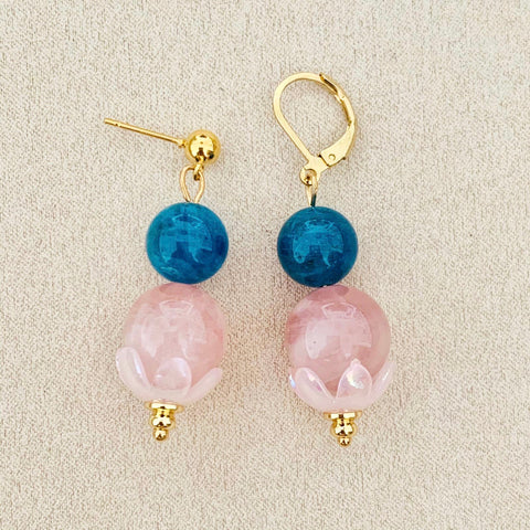 Blue Apatite & Madagascar Rose Quartz Earrings