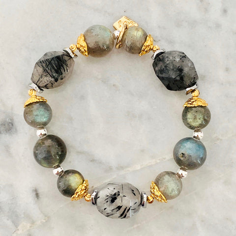 Labradorite & Black Rutilated Quartz