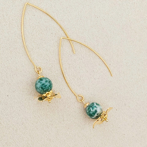 Green Dot Jade Floral Earrings