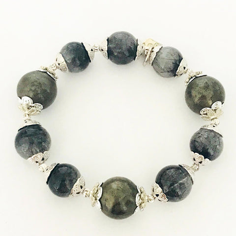 Rutilated Black Quartz & Pyrite