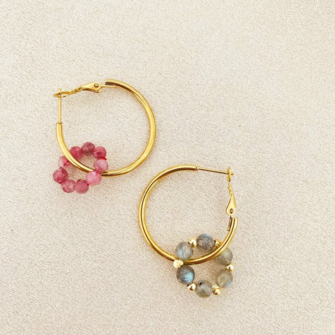 Pink Tourmaline & Labradorite Sucre Donut Earrings