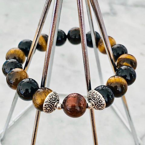 Red Tigereye, Black Tourmaline & Tigereye Men Bracelet