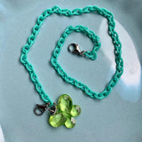 Child Mask Necklace- Green Butterfly