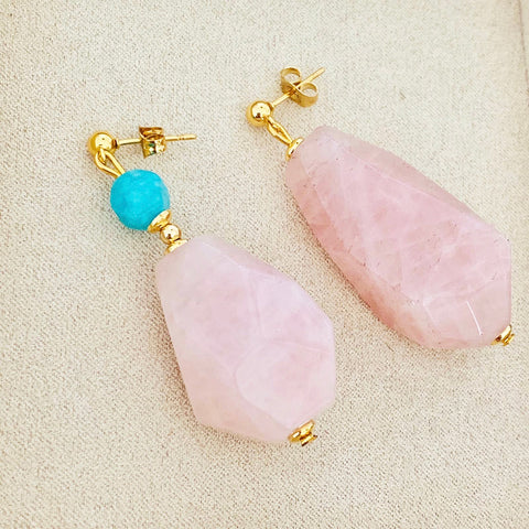 Madagascar Rose Quartz & Amazonite Quartz Chunky Earrings