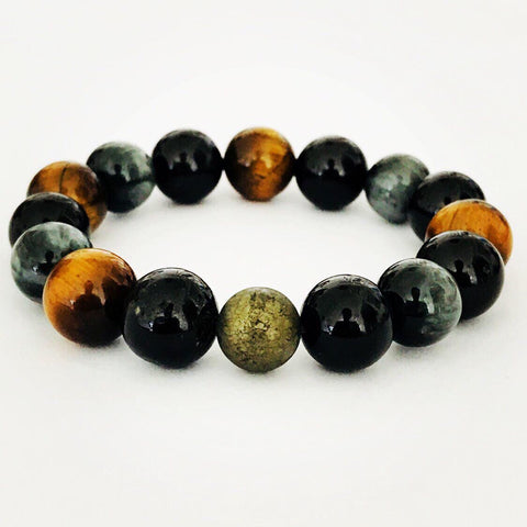 Luxury Tigereye, Hawk's Eye & Black Tourmaline Men Bracelet