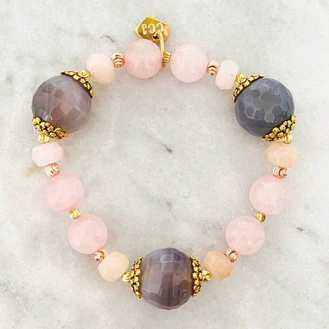 Purple Chalcedony & Rose Quartz