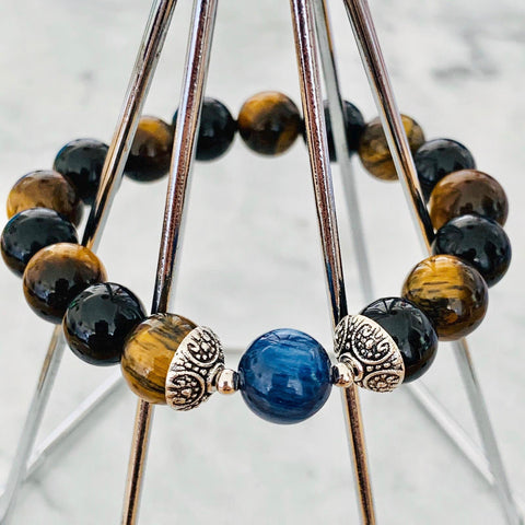 Kyanite, Black Tourmaline & Tigereye Men Bracelet