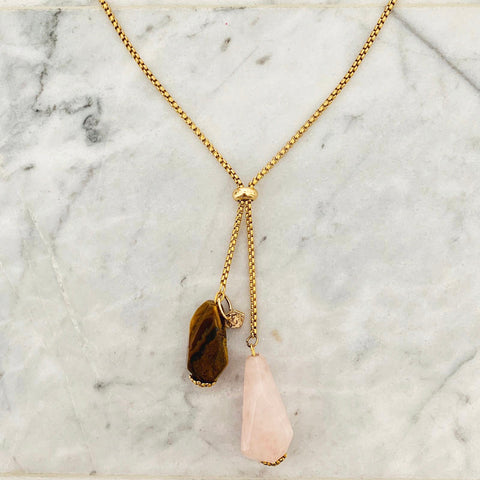 Tigereye & Rose Quartz Necklace