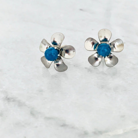 Blue Apatite Floral Stud Earrings