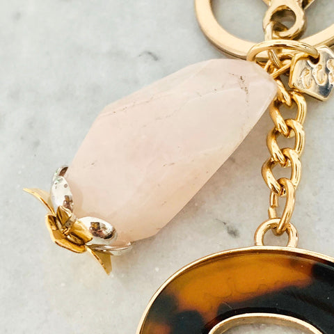 Rose Quartz Bag Charm/ Key Ring