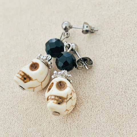 Spinel & Skull Earrings