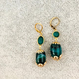 Crazy Green Lace Agate Vintage Earrings