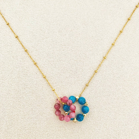 Pink Tourmaline & Blue Apatite Sucre Donut Necklace