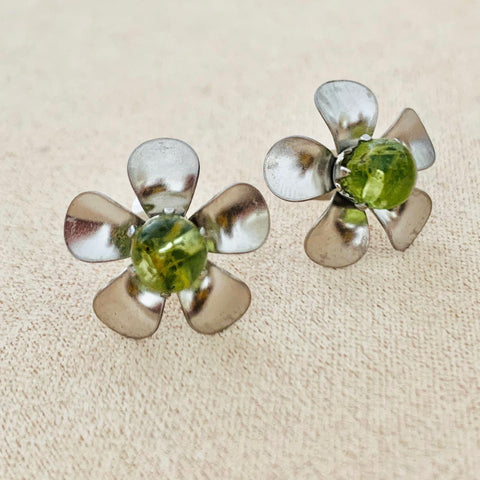 Peridot Floral Stud Earrings