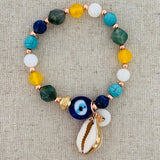 Evil Eye Talisman With Conch Charm