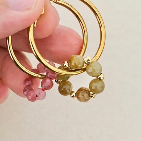 Pink Tourmaline & Yellow Brown Jade Sucre Donut Earrings