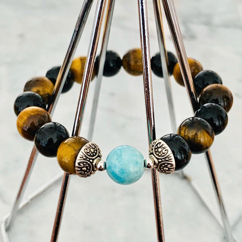Amazonite, Black Tourmaline & Tigereye Men Bracelet