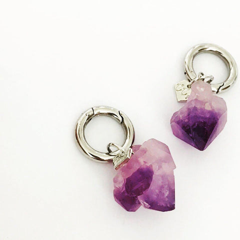 Raw Amethyst Keyring Charms