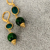 Chrome Diopside Vintage Earrings