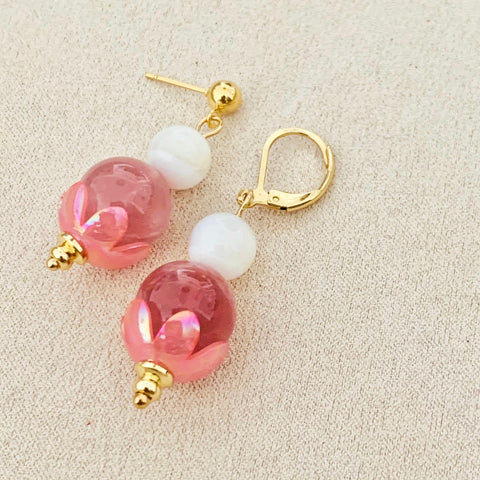 Mother Of Pearl & Madagascar Rose Quartz Earrings