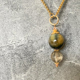 Tigereye & Smoky Quartz Necklace
