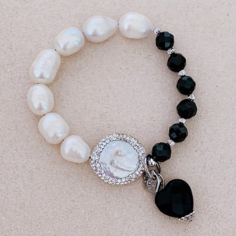 Pearls & Black Spinels Bracelet