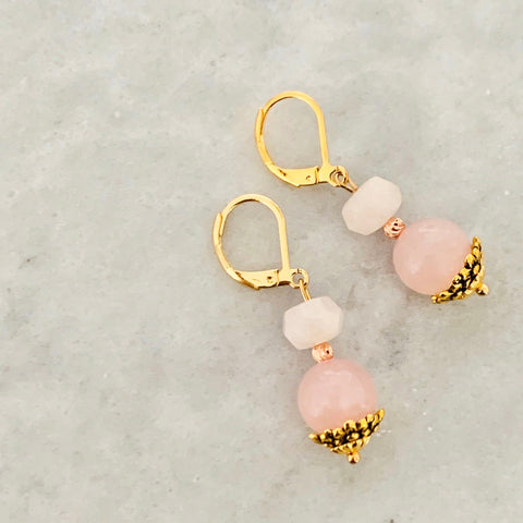 Rose Quartz & Morganite Earrings