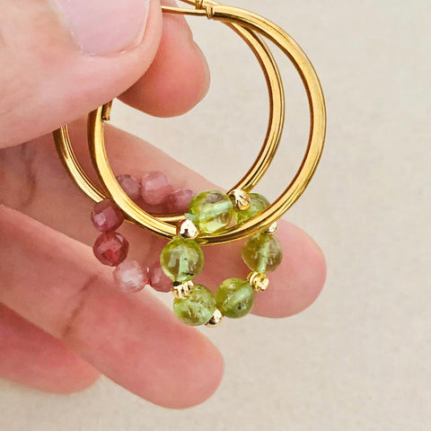 Pink Tourmaline & Peridot Sucre Donut Earrings
